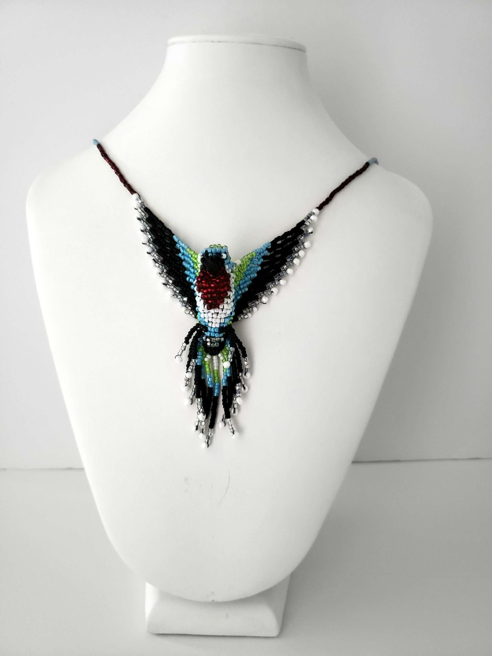 Ruby Throat Hummingbird Beaded Necklace
