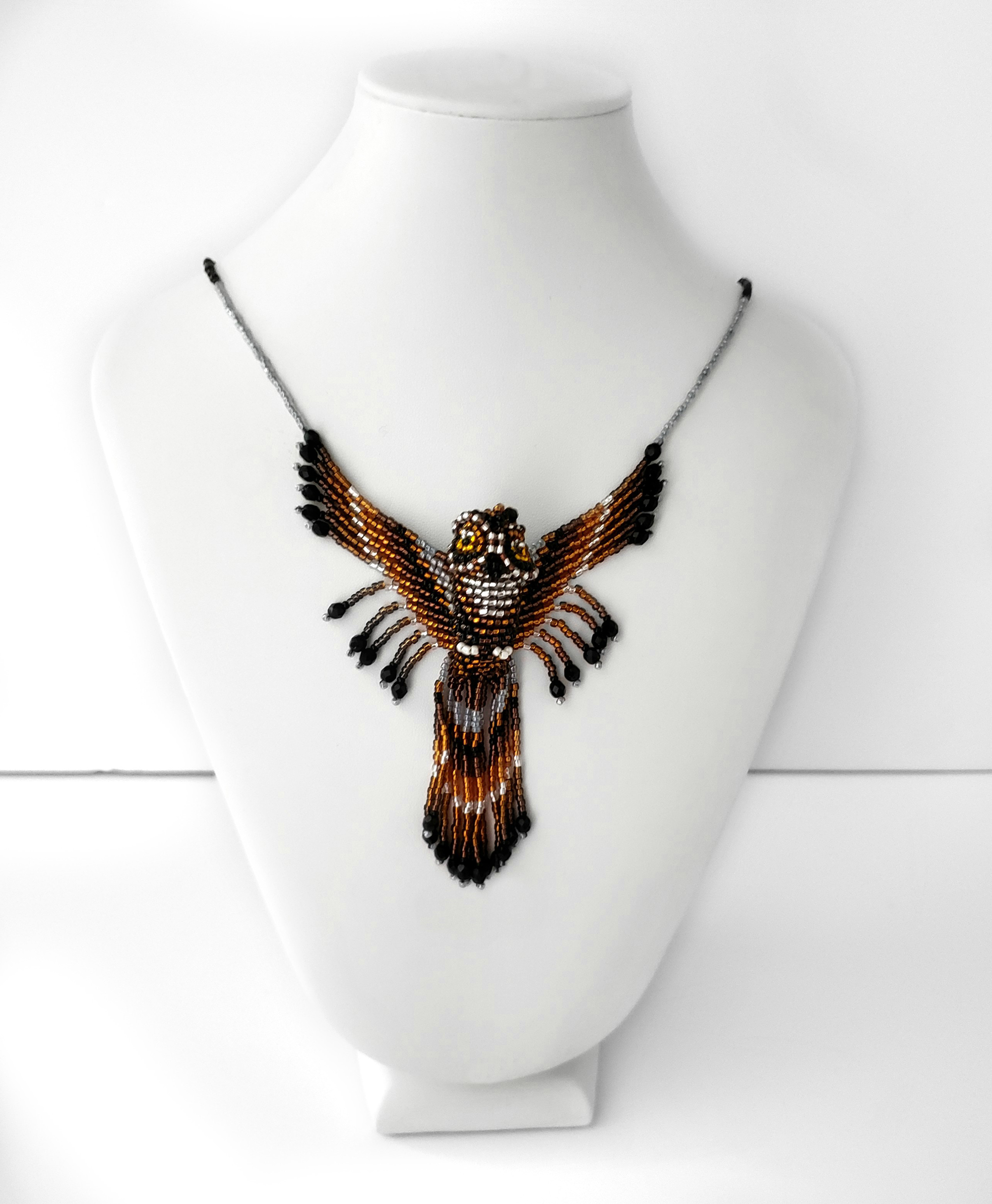 Great Horned Owl Beaded Necklace