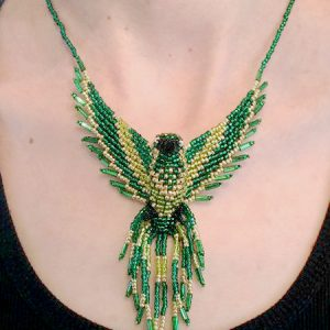Phoenix Beaded Green Gold Pendant Necklace neck