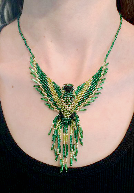 Phoenix Beaded Green Gold Pendant Necklace neck