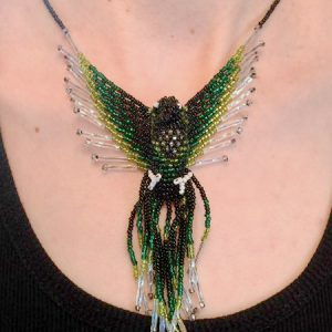 Phoenix Beaded Green Black Pendant Necklace neck