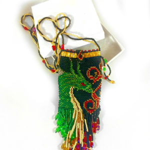 beaded dragon amulet bag box view green