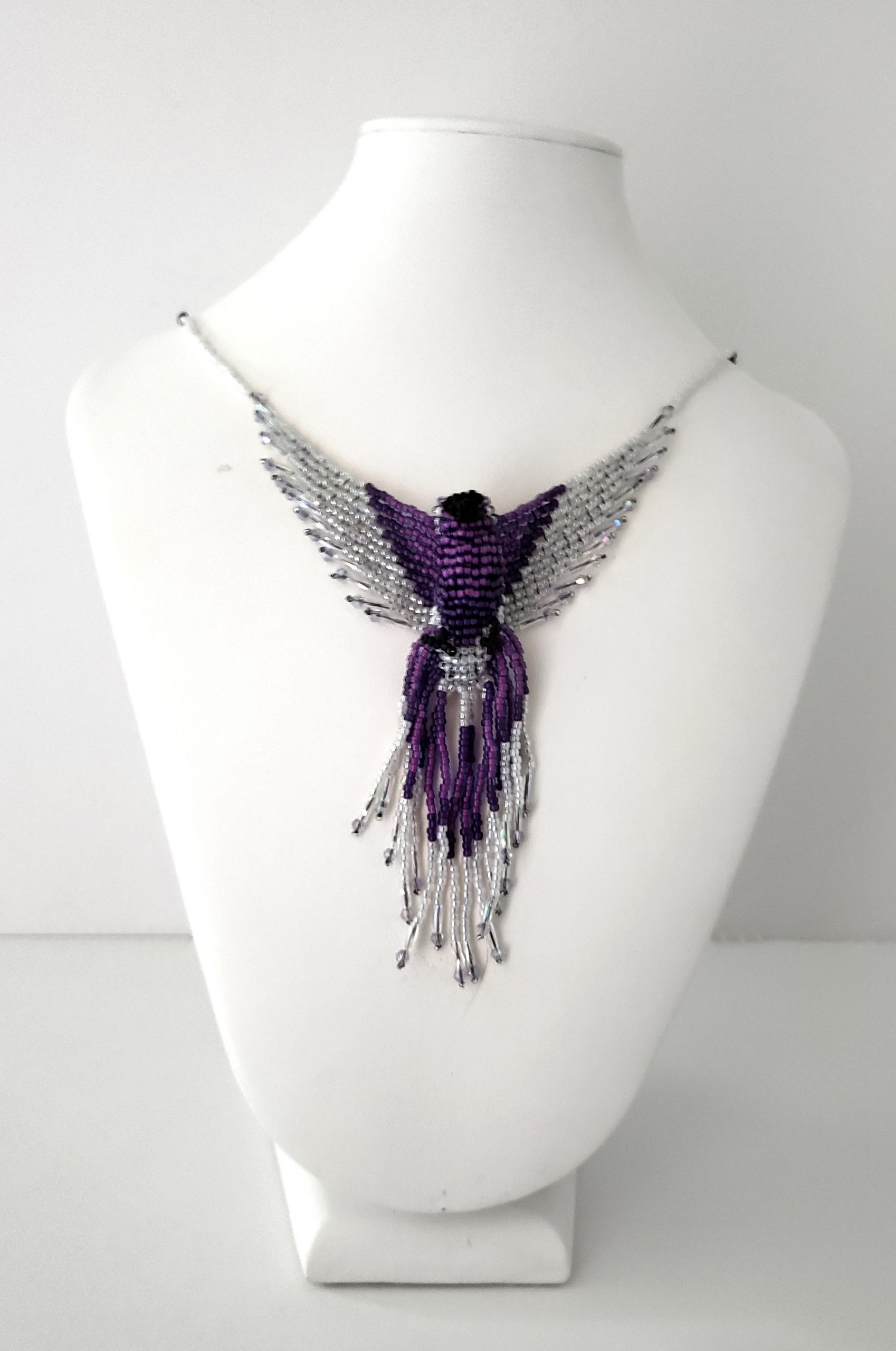 purple silver phoenix beaded necklace