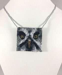 screech owl beaded amulet bag white neck