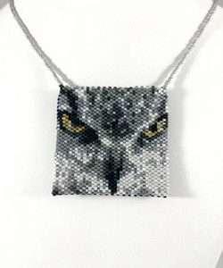 great horned owl beaded amulet bag closeup