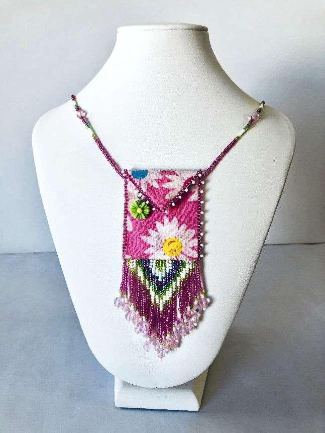 Pink Daisy Beaded Fabric Bag