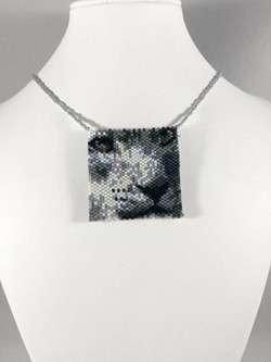 snow leopard beaded amulet bag white neck