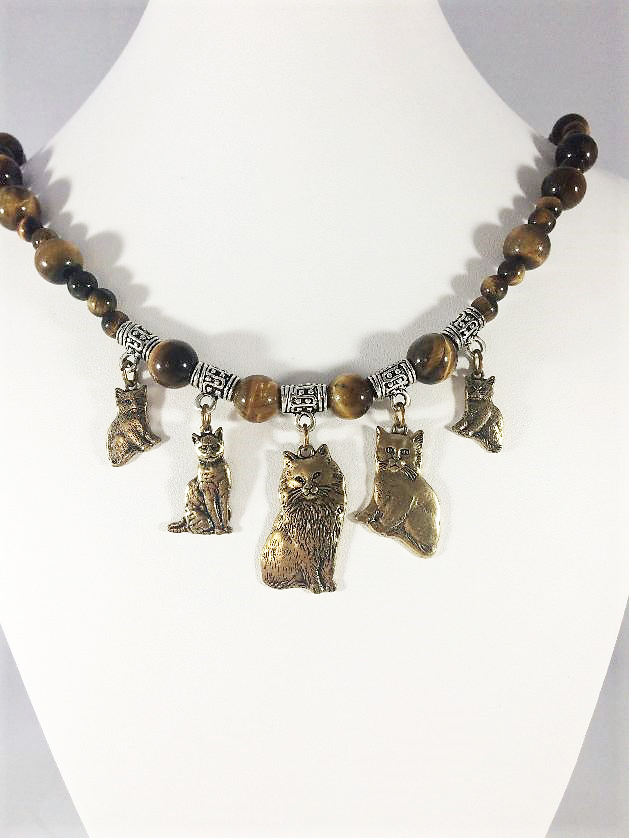Brass Cats and Tigers Eye Necklace white neck