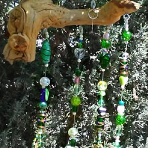 Green Glass Bead Boho Wind Chime
