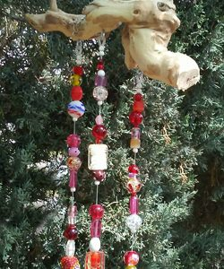 Red Glass Bead Wind Chime Suncatcher