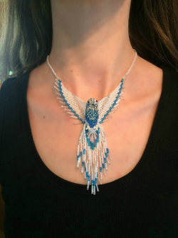 Phoenix beaded white blue pendant necklace model
