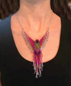 Phoenix Beaded Hummingbird Necklace Pink and Light Green model