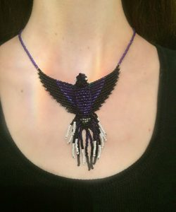 violet sabrewing hummingbird necklace model