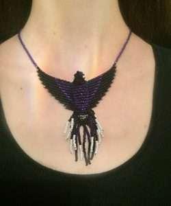violet sabrewing hummingbird necklace model