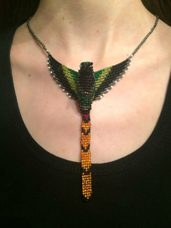 Red Tailed Comet Hummingbird Beaded Pendant Necklace model