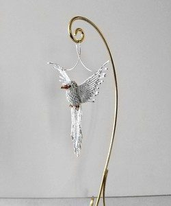 White Dove Beaded Suncatcher Ornament stand