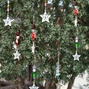 Silver Star Glass Bead Ornament 2