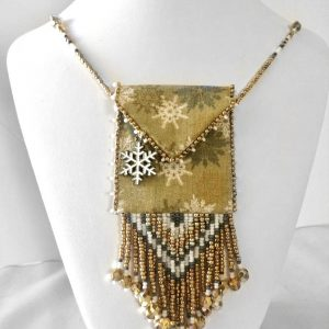 gold & silver snowflakes beaded fabric bag necklace neck