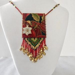 Poinsettia Beaded Fabric Bag Necklace neck