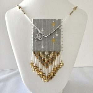 silver & gold stas beaded fabric bag necklacer back