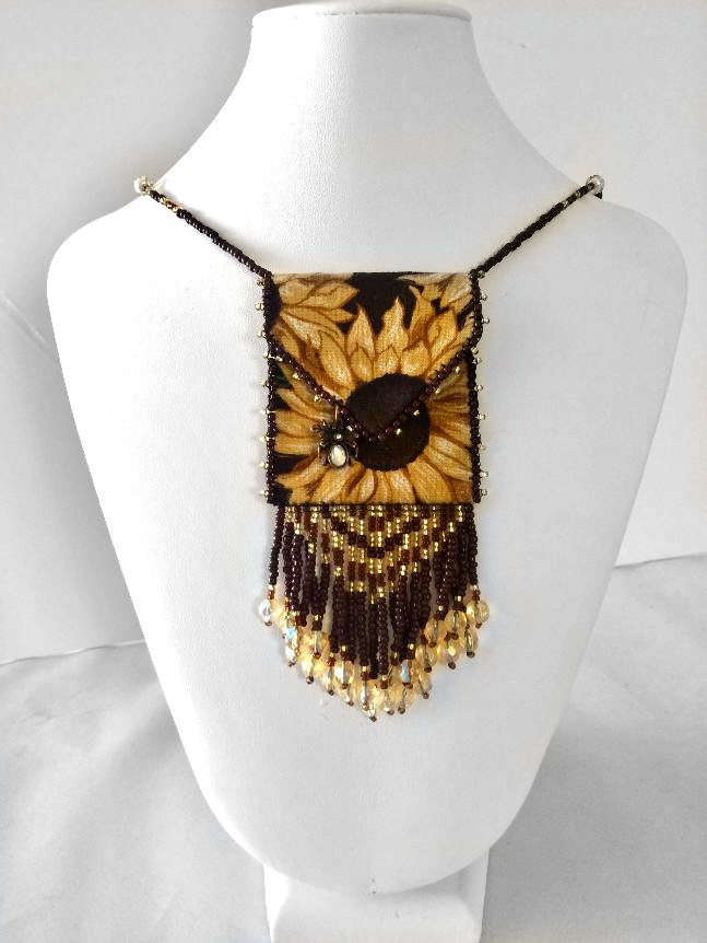 sunflower mini beaded fringe cloth bag