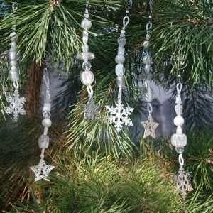 Silver Star Snowflake Ornaments