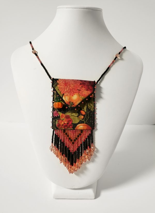 Beaded fabric pouch