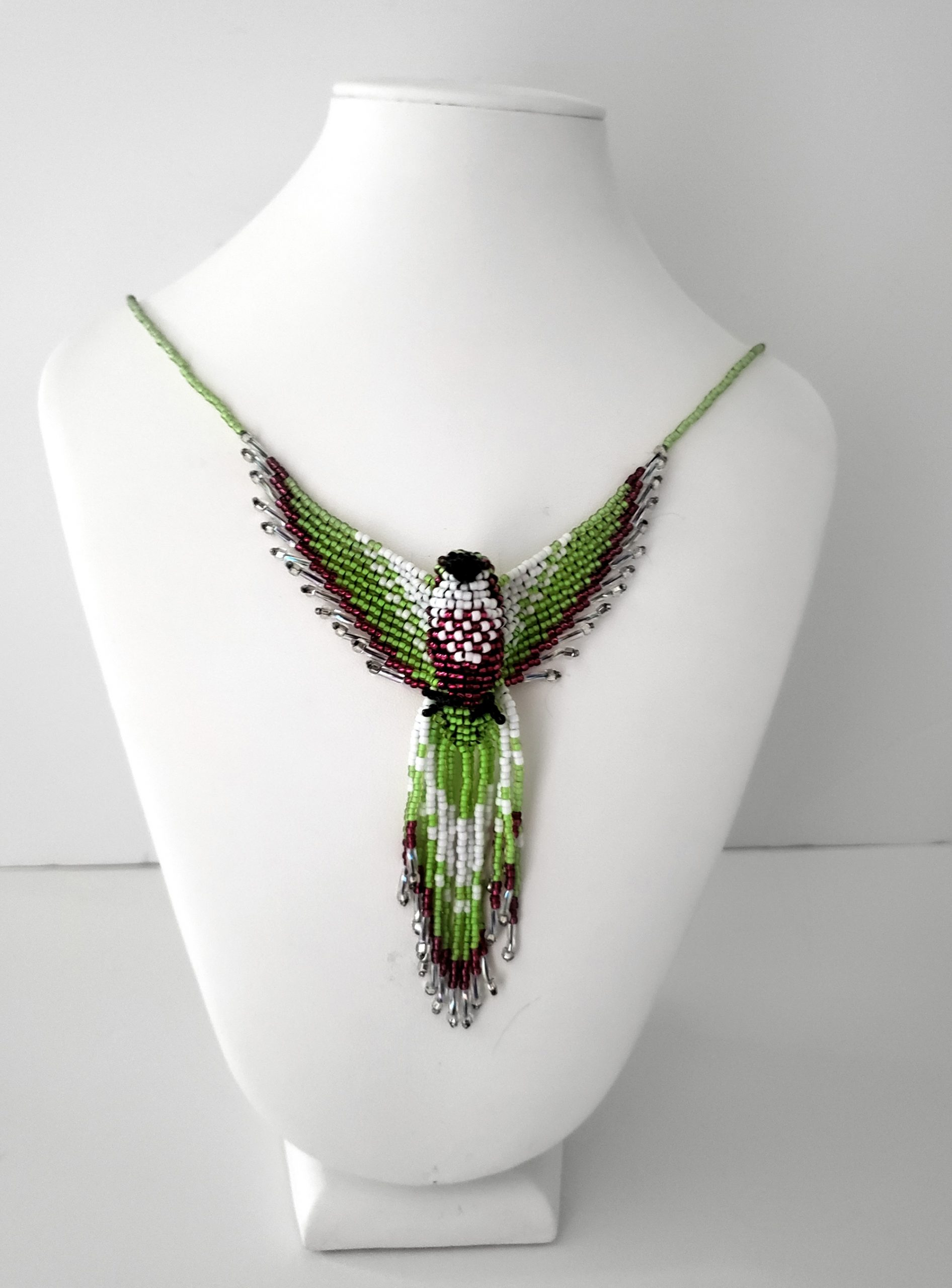 Dark Pink Lime Green Beaded Phoenix Necklace