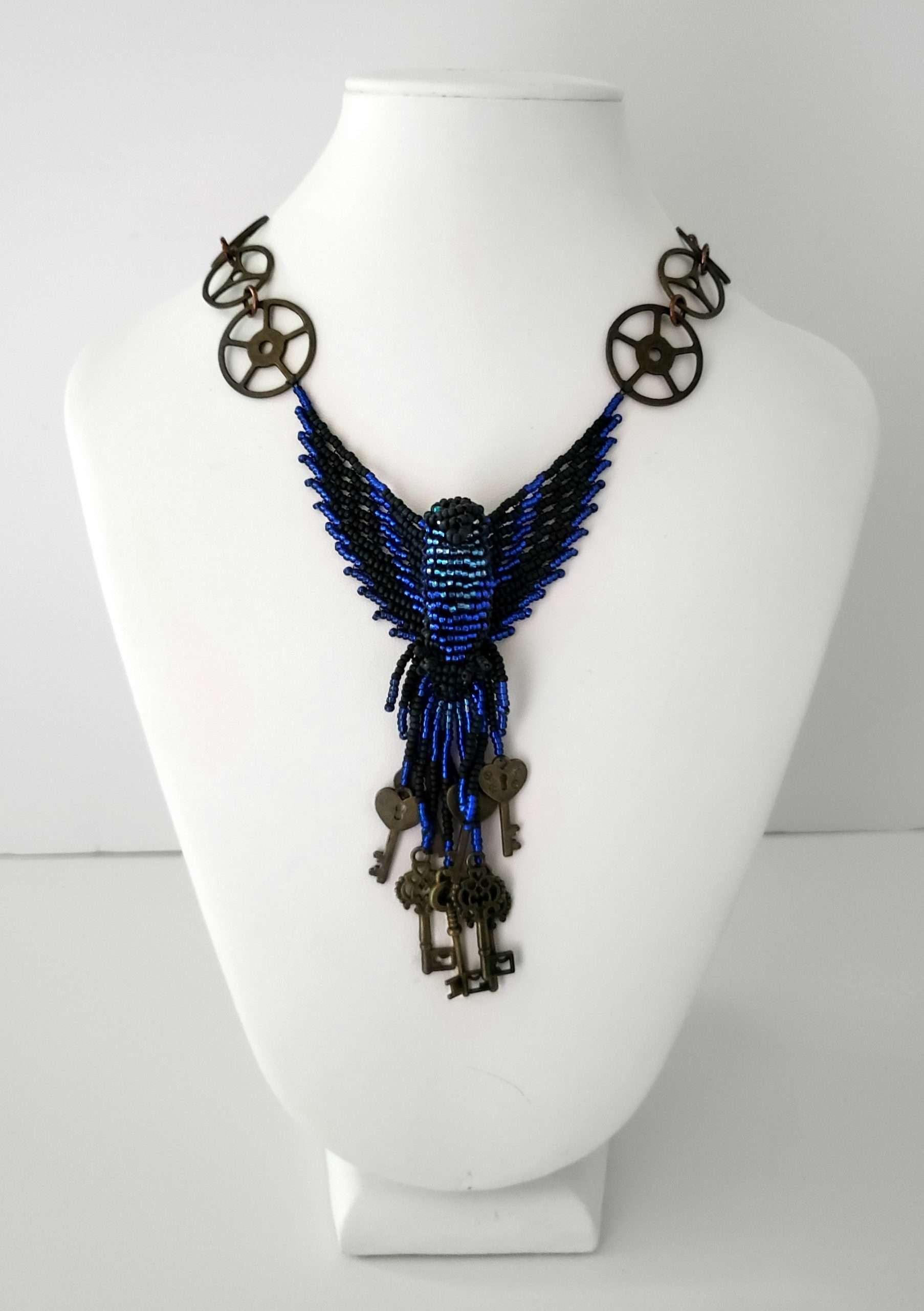 Dark Blue Phoenix Beaded Steampunk Necklace