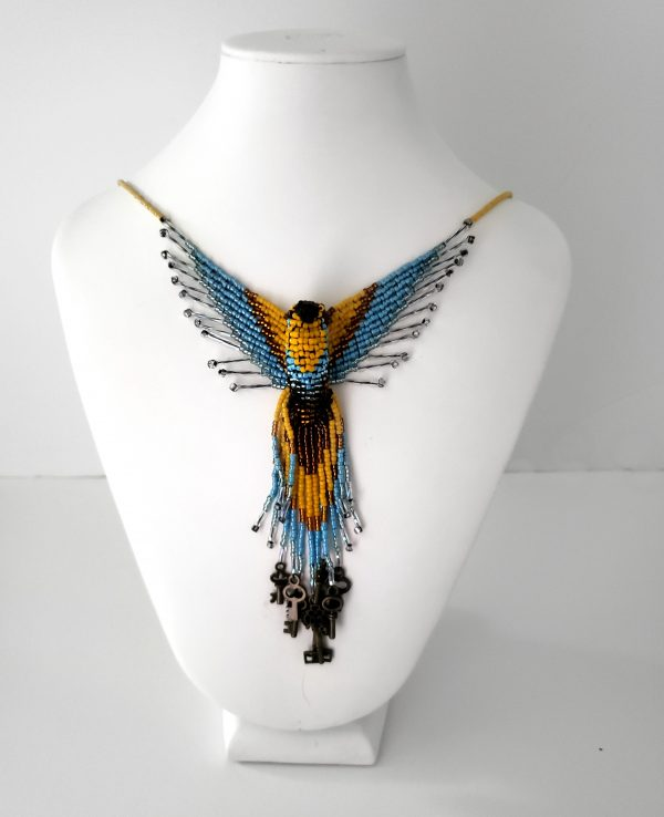 Blue and Gold Skeleton Key Phoenix Beaded Necklace - Steampunk Necklace