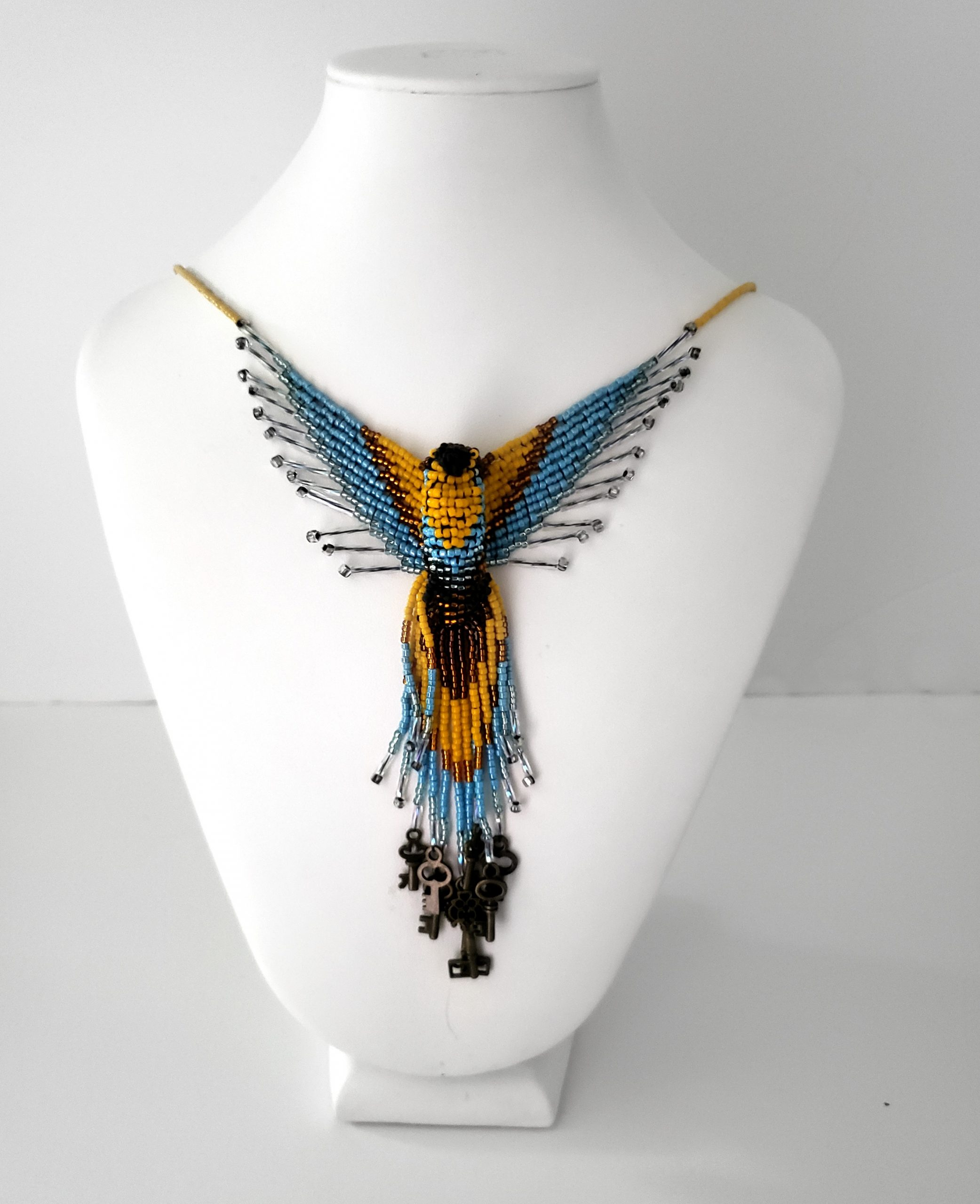 Blue and Gold Skeleton Key Phoenix Beaded Necklace – Steampunk Necklace