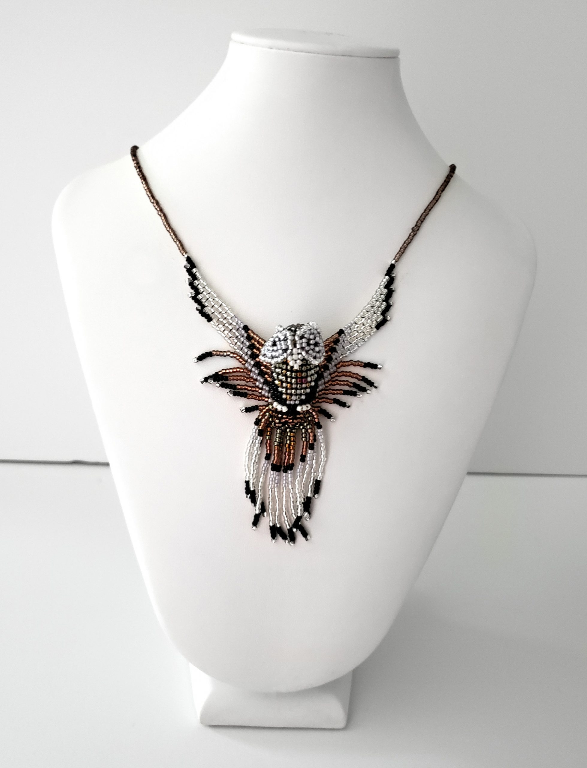 Barn Owl Beaded Necklace