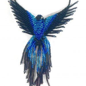 phoenix crystal beaded necklace dark blue
