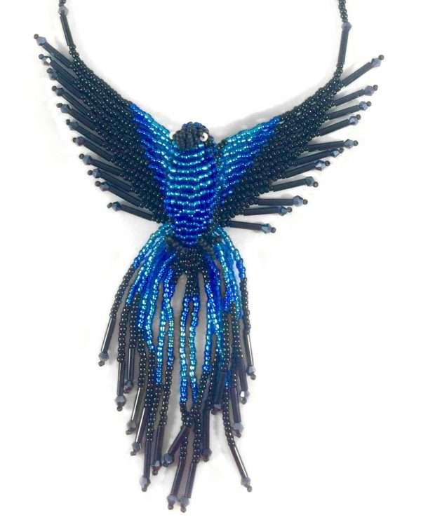 phoenix crystal beaded necklace dark blue