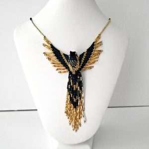 Phoenix necklace teal black gold