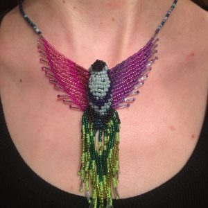 Pink Green Phoenix Necklace